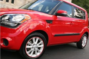 Red WheelBands on Red Kia